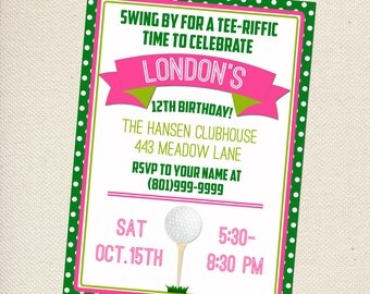 Golf Party Invitation - Mini-Golf Party Invitation -  Customizable - You Print