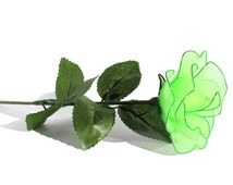 VALENTINE DAY! Green Nylon Fabric Rose Flowers - Handmade Flower, Artificial