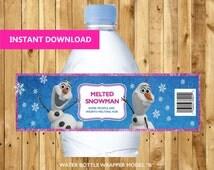 25% OFF Frozen Bottle Label - Instant Download - Frozen Birthday - Party Printable - PDF Digital File