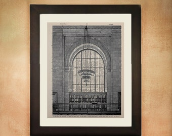 New York City Library Reading Room Dictionary Art Print, Nyc Architecture Upcycled  Wall Art da67