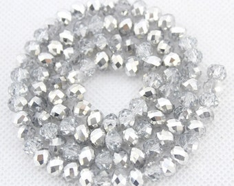 100 Pieccs,6mm Sparkle Silvery White Crystal Beads,Silvery White Faceted Crystal Beads,1 Strand,Crystal Beads,Gemstone Beads--BR034