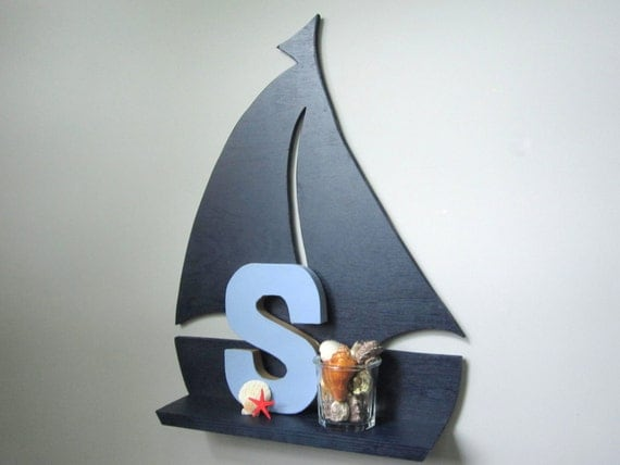 Sailboat Wall Shelf Navy Blue