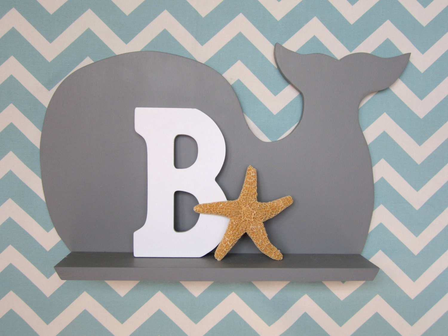 Kids Whale Wall Shelf Gray Nursery Decor