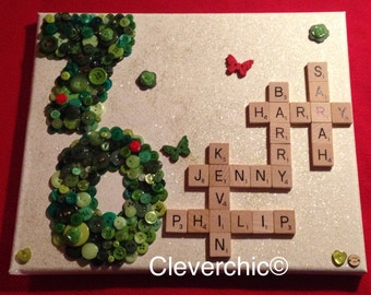 Scrabble and Button Art Canvas, Choice of colours, Family Tree, Scrabble Art, Button Art, Scrabble canvas