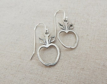 Sterling Silver Apple Charm Earrings,  Gifts for Teachers