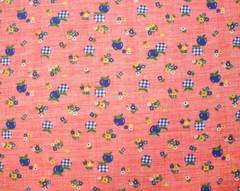 Vintage Fabric Fat Quarter - Red with Blue Apples