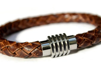Mens Leather Bracelet, Gift for Him, Dad, Boyfriend, Brother, Husband, Mens Braided Bracelet, Woven Leather Cuff, Stainless Steel