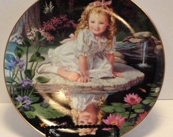 Monday's Child is Fair of Face, Children of the Week Plate, Danbury Mint, 1991, Little Princess in an Enchanted Woodland.
