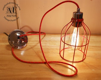 Industrial Cage pendant Light-, Antique Edison Bulb, Red Wire colour cord Cage Lamp, Rustic Lighting