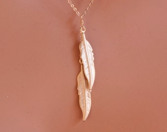 Double Feather Necklace in Gold Vermeil Dainty Custom Jewelry by Friction Jewelry