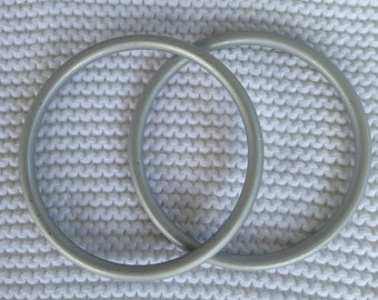 Large Silver Pair of Aluminum Baby Sling Rings Made in USA