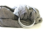 Linen Ring Sling - Grey Linen, Gathered Shoulder, gray 100 % Linen, baby carrier, baby wrap, front carrier, adjustable, baby toddler carrier