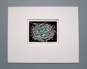 Robin's Nest Block Print 8x10 Handmade Linocut