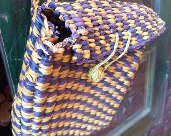Vintage Back Pack Woven Straw Bag Purple and Yellow