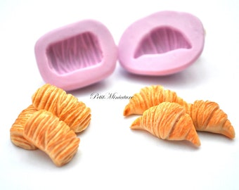 BREAD MOLD fimo ST055 croissant bakery flexible pcs2 silicone mold polymer clay jewelry charms sweet dollhouse miniature food kawaii cabocho