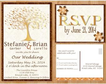 Printable Fall Wedding Invitation Fall Tree (Brown/Orange/Cream) (Digital File)