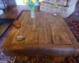 Handcrafted Rustic oak coffee table made from 150yr old timber