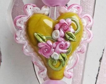 Victorian Winged Heart Series ~ Lydies Garden by Sabrina Koebel MADE TO ORDER Handmade Lampwork Beads