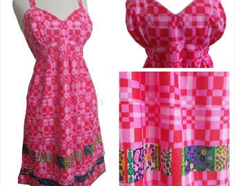60s Mod Dress Pink and Red Sleeveless Hippie Dress M/L