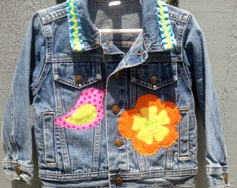 Girl's Denim Jacket, Size 2T, upcycled denim, all Cotton with Lots of Spring Embellishments: Flowers, Bird, Ladybug, Bee, Butterfly...