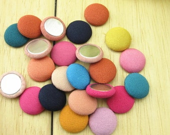 40pcs Mixed Color Fabric Flat Back Buttons, Cloth buttons FOR earring hair accessories