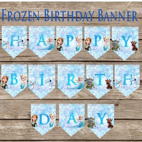 Frozen Birthday Banner Digital Download Frozen Princess