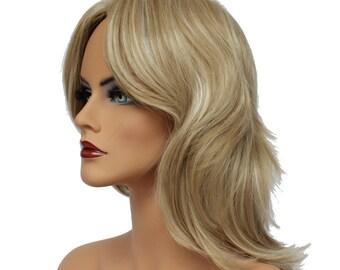 Classic Cap women Synthetic Wavy Long Sunflower Blonde wig HengFeng LHL03   SKU: 10J43