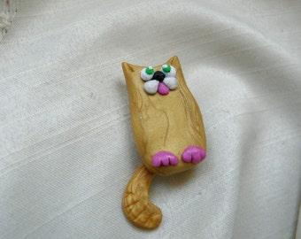 Ginger Cat Brooch, Orange Cat Pin, Pet Lover Brooch, Feline Brooch, Clay Cat Art Pin