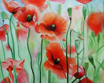 "Original Poppy Field Acrylic Canvas Painting 16"" x 22"", Fine Art, Poppies, Red Flowers"