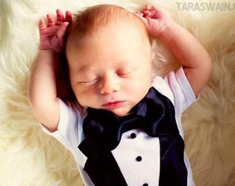 Baby Tuxedo onesie, Wedding, baby Ring Bearer outfit, newborn photo session, newborn tuxedo, Boy take home outfit