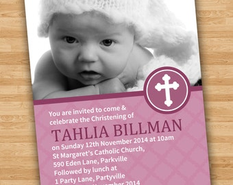 DIY Print Baby Girl Photo Baptism/Christening/Naming Day Invitations/Invites