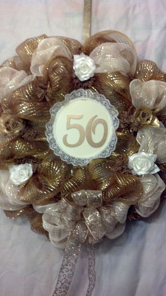 50th Golden Wedding Anniversary Deco Mesh Wreath Gold And