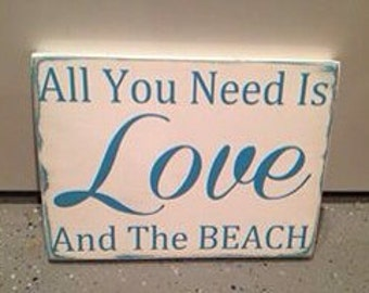 All You Need Is Love And The Beach - wood wall art