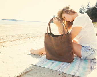 Charlotte / brown leather tote bag / leo lebel