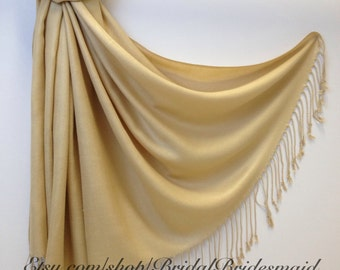 SET OF 2 CHAMPAGNE pashminas gift rolled with ribbons - Light Gold Shawl for Bridesmaids - Beige Scarves - wedding wraps - keepsakes
