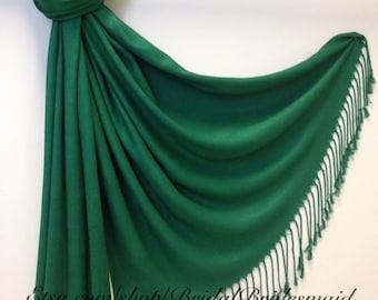Wedding Season SALE - Emerald Green PASHMINA - shawl - bridal scarf - bridal shawl - bridesmaid gift - wedding gift - scarf - shawl - gift -
