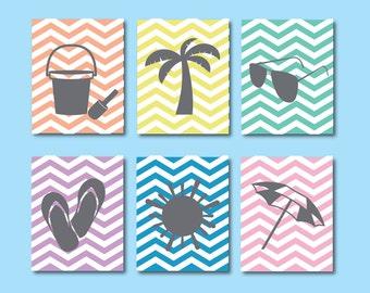 Beach Art Print, Fun in the Sun Chevron Girls Prints, Kids Art Prints, SET of SIX Prints, 564