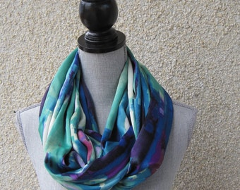 Fabric scarf, Infinity scarf, tube scarf, eternity scarf, loop scarf, long scarf in a multi-colored fabric
