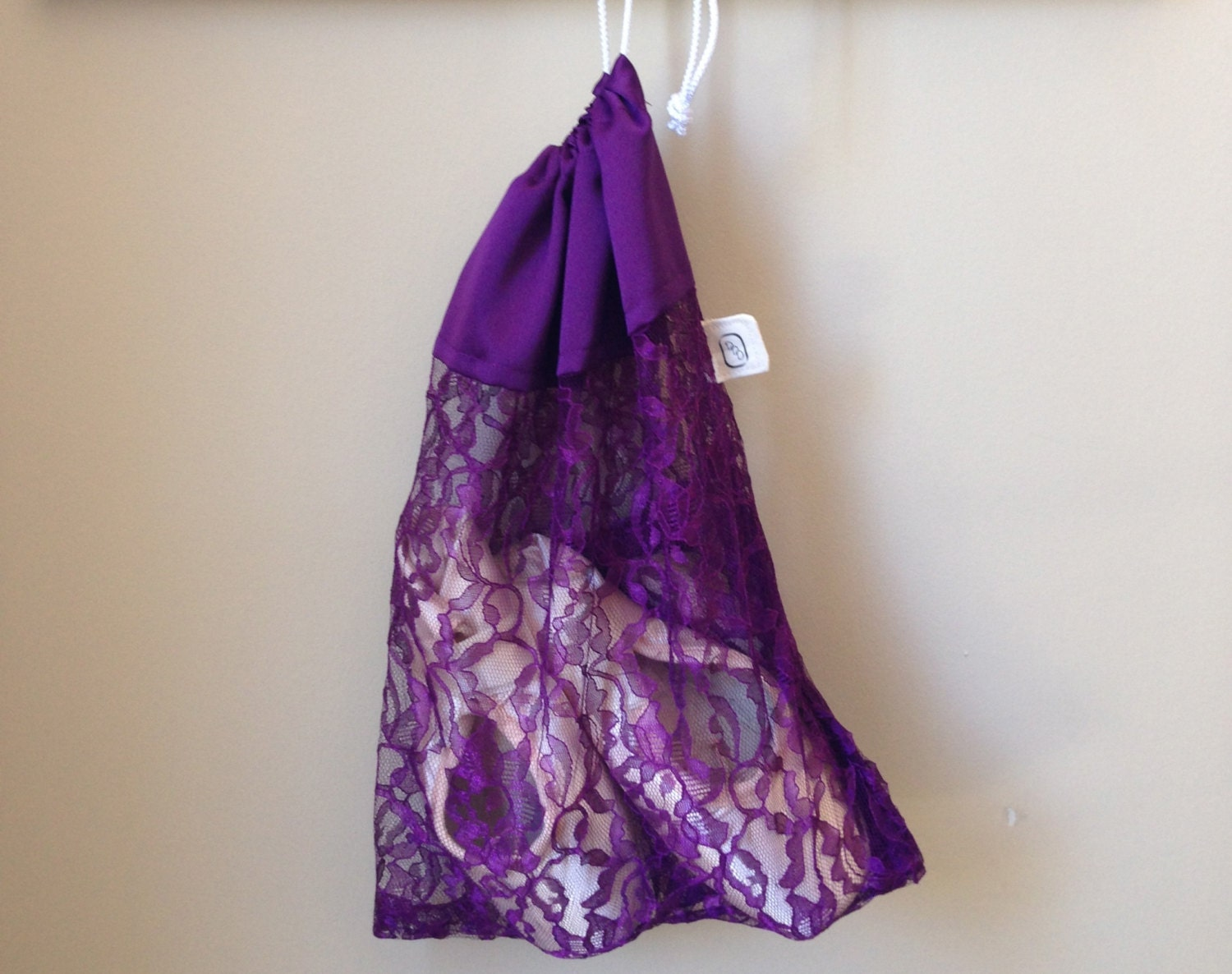 Pointe Shoe Bag Dance Bag Purple Lace and by DancingDuoDesigns