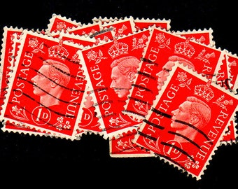 20 used Vintage Red G.B. Postage Stamps