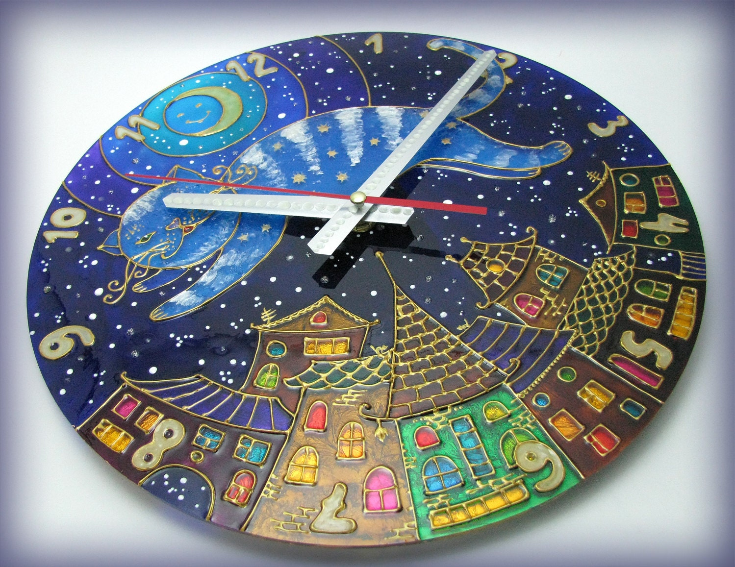 Cat Wall Clock The Moon & Fairy Cat Hand Painted Wall Clock