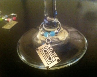 Cassette tape wine charms