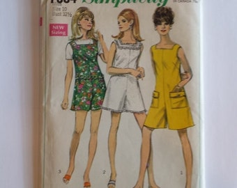 Vintage 60s Simplicity 7684 Misses Pantdress or Pantjumper in two lengths Pattern Size 10 Bust 32 1/2