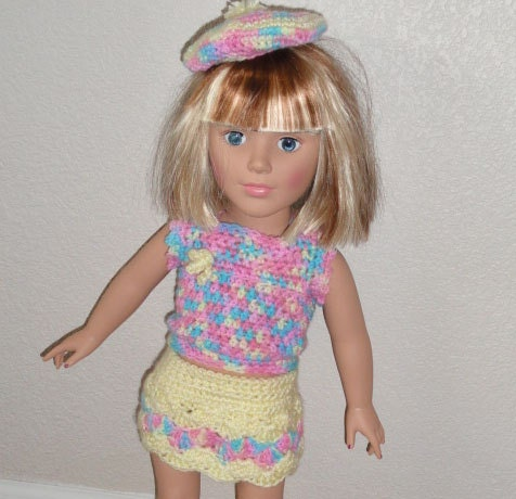 Crochet Mini Doll Clothes : AG Doll Clothes Crocheted Mini-Skirt Outfit by ...