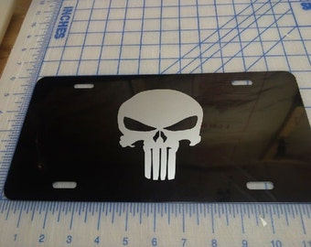 Punisher license plate tag (silver logo)