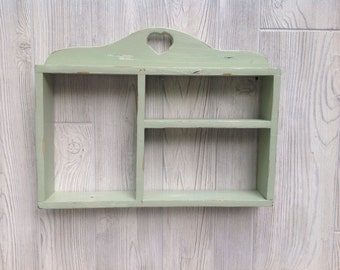 Shabby Chic Shelf Pastel Green Upcycled