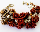 Weddings Bracelet, handmade in vintage style . Roses jewelry in floral design. Bridal Accessories, Bridal Bracelet