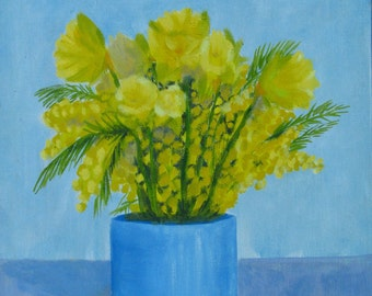 yellow flowers, painting, original oil painting small 35 x 27 cm, Impressionist