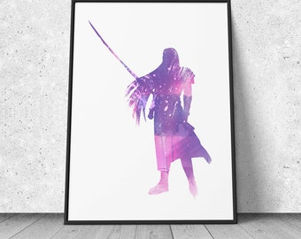 Final Fantasy, Sephiroth, watercolor illustration, giclee art print, ff vii, video games decor, wall decor