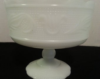 E.O. Brody Co. Milk Glass Footed Compote Bowl M6000 Cleveland, OH USA